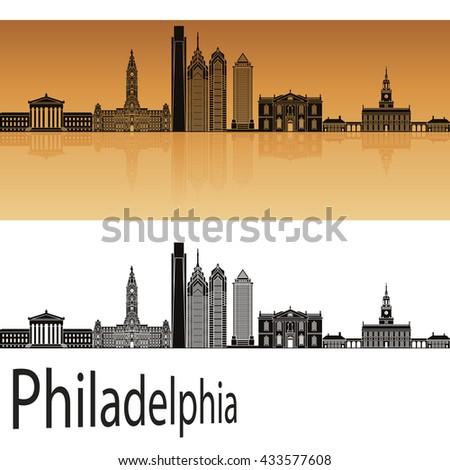 Philadelphia skyline in orange background in editable vector file - stock vector