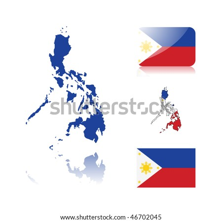 Philippine map including: map with reflection, map in flag colors, glossy and normal flag of the Philippines. - stock vector