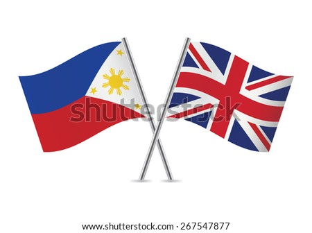 Philippines and British flags. Vector illustration.