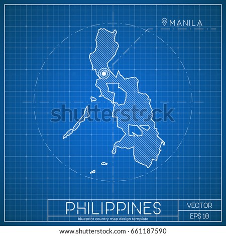 Laos blueprint map template capital city stock vector 670939246 philippines blueprint map template with capital city manila marked on blueprint filipino map vector malvernweather Image collections