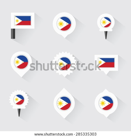 Philippines Flag Pins Infographic Map Design Stock Vector - Flag pins for maps