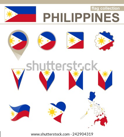 philippines flag collection 12 versions stock vector 242904319