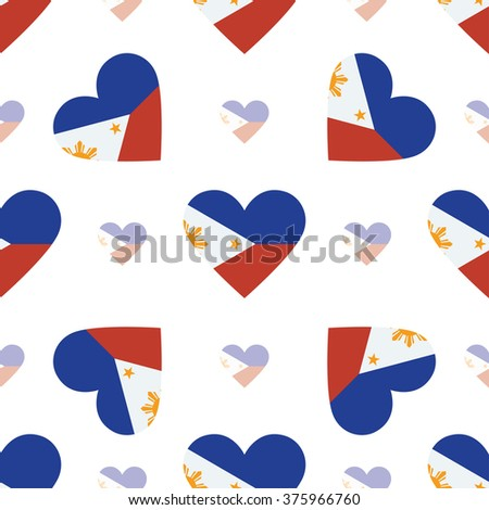 Philippines flag heart seamless pattern. Patriotic Philippines flag background. Country flag in the shape of heart. Vector seamless pattern. - stock vector