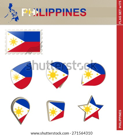 Philippines Flag Set, Flag Set #175. Vector.