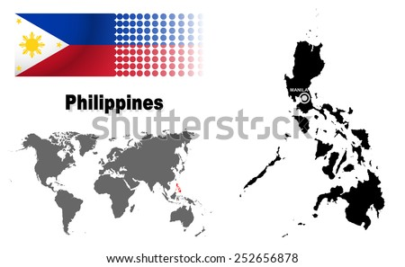 Philippines info graphic with flag , location in world map, Map and the capital ,Manila, location.(EPS10 Separate part by part) - stock vector