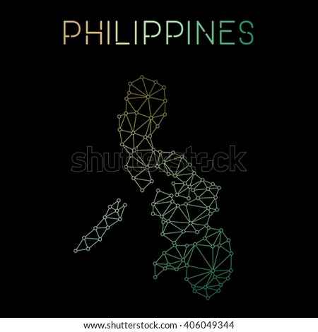 Philippines network map. Abstract polygonal map design. Network connections vector illustration. - stock vector