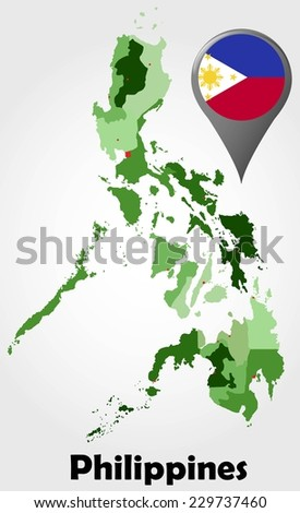 Philippines political map with green shades and map pointer.