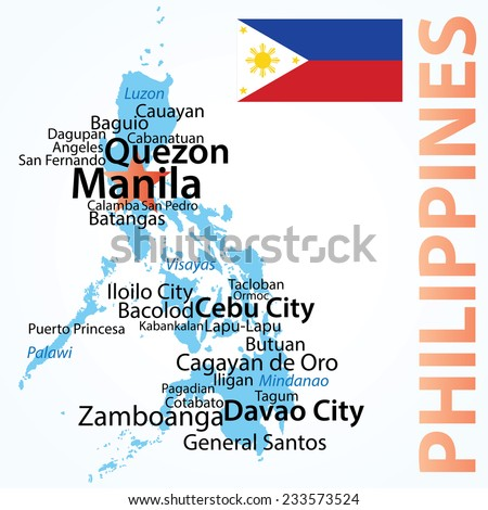 Philippines - vector map with largest cities, carefully scaled text by city population. - stock vector