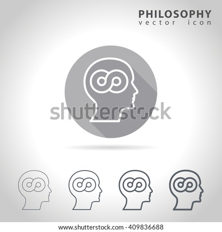 Philosophy outline icon set, collection of philosophy icons, vector illustration - stock vector