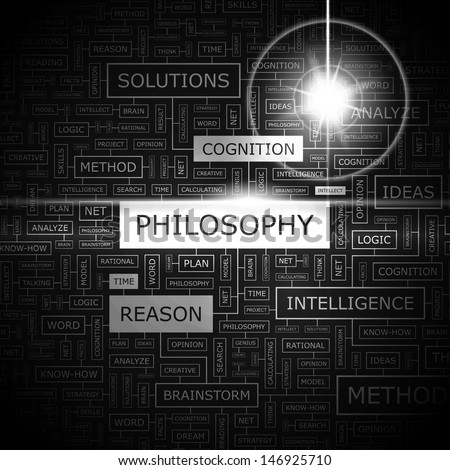 PHILOSOPHY. Word cloud illustration. Tag cloud concept collage. Vector text illustration.