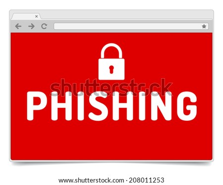 Phishing alert on opened internet browser window with shadow. Isolated browser template.
