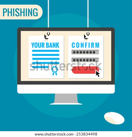 Phishing and identity theft - isolated flat vector illustration. - stock vector