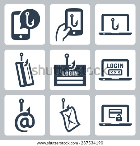 Phishing related vector icon set - stock vector