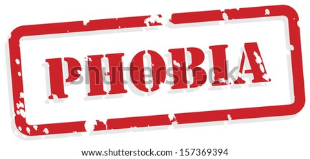 Phobia red rubber stamp vector for mental health concept
