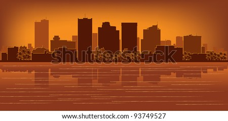 Phoenix, Arizona skyline with reflection in water - stock vector