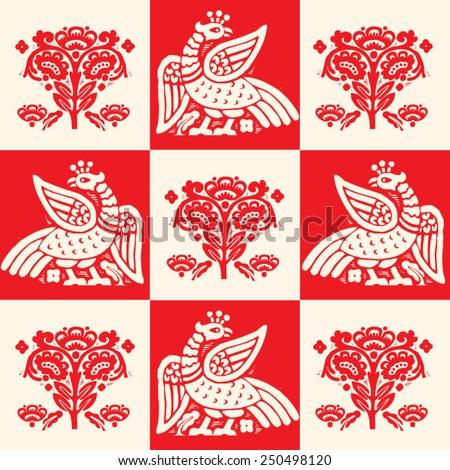 Phoenix Bird. Phoenix. Vector Bird. Ancient Bird. Phoenix Of Legend. Legendary Bird. Pattern Of The Birds. Phoenix And Patterns. Red Bird. Resurrection. Uprising. Revival. Vector. Fire bird. - stock vector