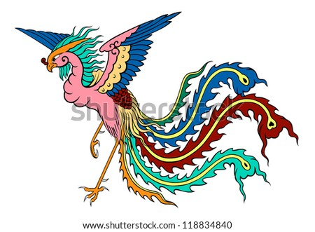 phoenix chinese style on white background - stock vector