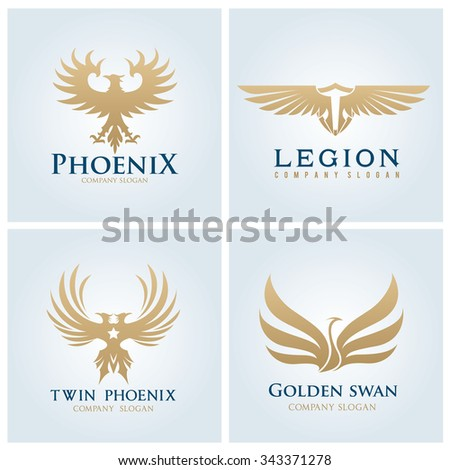 phoenix logo,Eagle logo,swan logo,bird logo,logo set,logo collection,vector logo template - stock vector