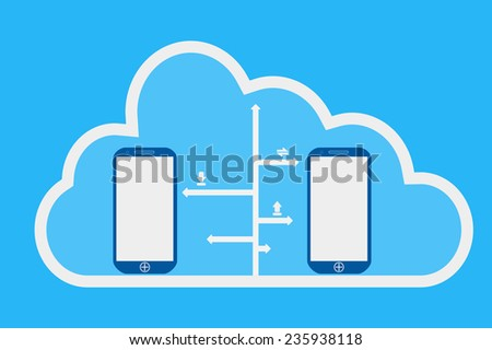 phone and cloud computing  illustration design - stock vector
