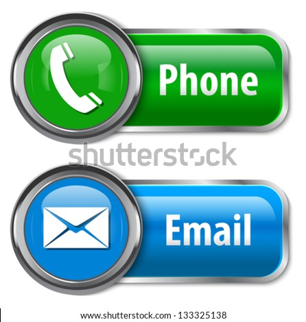 Phone and mail glossy web design elements. Vector illustration - stock vector