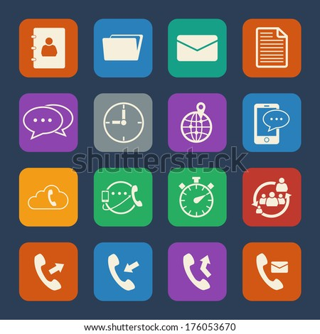 Phone and telecommunication icons set. Flat design for Website and Mobile applications. Vector - stock vector