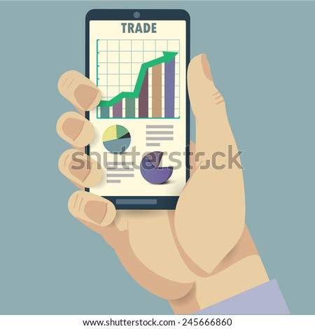 Phone and trade analysis - stock vector