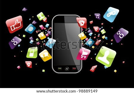 Phone application icons splash out of phone on black background. Vector file layered for easy manipulation and customisation.