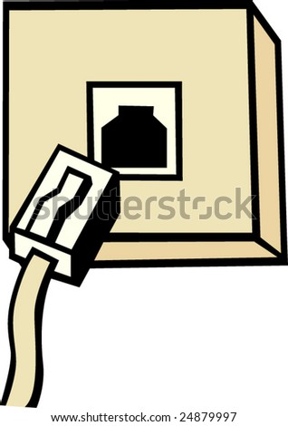 phone box and cable - stock vector