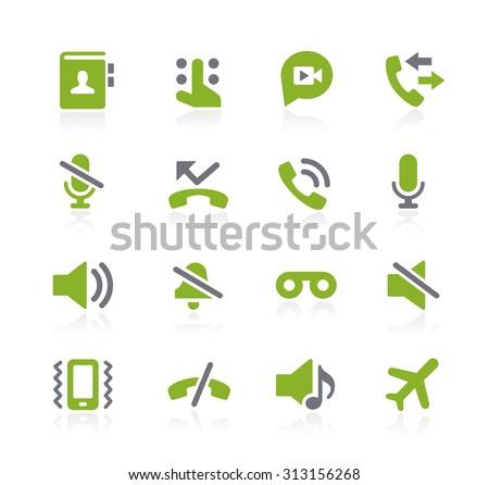 Phone Call Interface Icons // Natura Series - stock vector