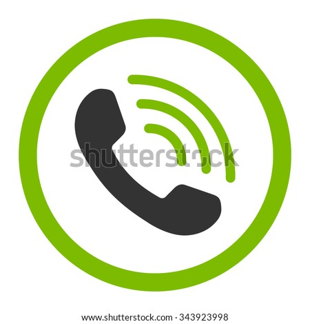 Phone Call vector icon. Style is bicolor flat rounded symbol, eco green and gray colors, rounded angles, white background. - stock vector