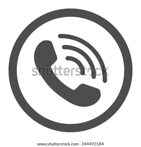Phone Call vector icon. Style is flat rounded symbol, gray color, rounded angles, white background. - stock vector