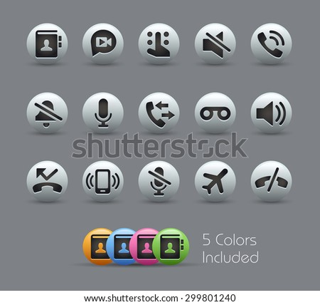 Phone Calls Interface Icons // Pearly Series ----- The Vector file includes 5 color versions for each icon in different layers ----- - stock vector