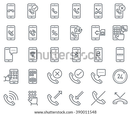 Phone calls, mobile phone icon set suitable for info graphics, websites and print media and  interfaces. Line vector icons. - stock vector