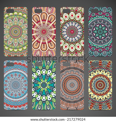 Phone case collection, delicate floral pattern. Vector background. Vintage decorative elements. Hand drawn background. Islam, arabic, indian, ottoman motifs. - stock vector