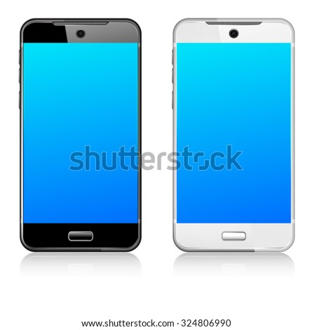 Phone Cell Smart Mobile black and white - stock vector