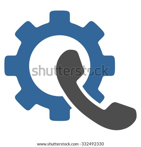 Phone Configuration vector icon. Style is bicolor flat symbol, cobalt and gray colors, rounded angles, white background. - stock vector