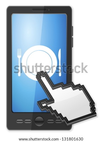 Phone, cursor and cutlery symbol on a white background. - stock vector