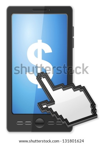 Phone, cursor and dollar symbol on a white background. - stock vector