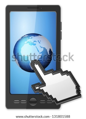 Phone, cursor and globe on a white background. - stock vector