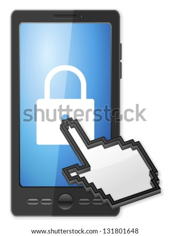 Phone, cursor and padlock symbol on a white background. - stock vector