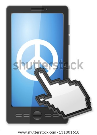 Phone, cursor and peace symbol on a white background. - stock vector