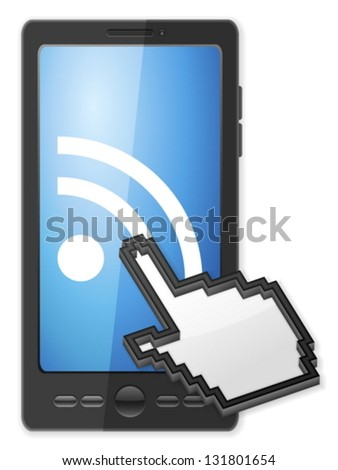 Phone, cursor and RSS symbol on a white background. - stock vector