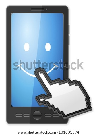 Phone, cursor and smile symbol on a white background. - stock vector