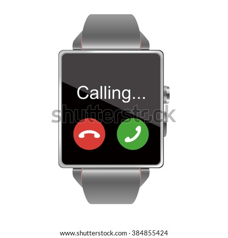 Phone display of the Smart watch illustration on white background - stock vector