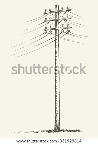 Phone electronic mains post stand in winter field near road. Vector freehand linear ink hand drawn icon picture sketchy in art scribble style pen on paper. Side view with space for text on foggy sky - stock vector