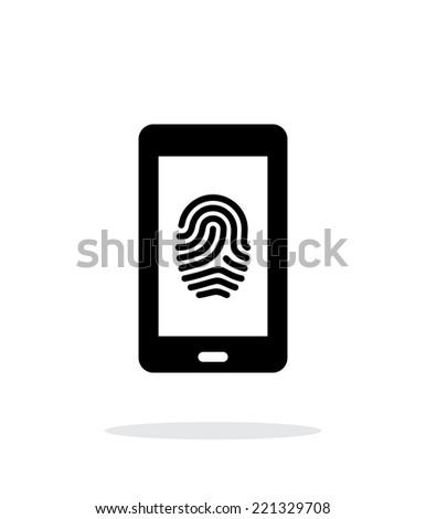 Phone fingerprint icon on white background. Vector illustration. - stock vector