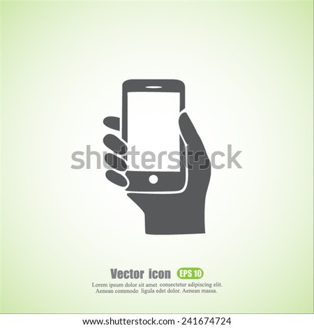 phone hand  vector icon - stock vector