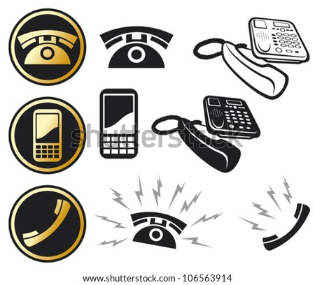 phone icon set (mobil phone button, phone and call, ringing phone, the phone rings, earphone button, phone button, phone icons collection - stock vector