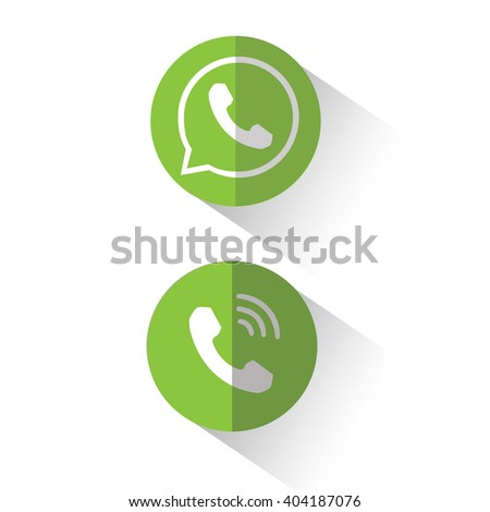 phone icon, White phone on a green background,  with shadow Phone, ringing phone,  incoming call