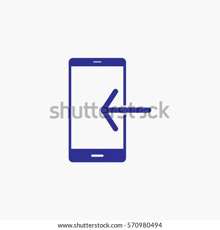 Phone Icon with Back Arrow Symbol. Flat Graphic Vector Isolated Use for App, Mobile, Web and Everything